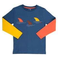 Kite Long Sleeved Tee Shirt Boys Dolphin Crossing Navy