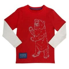 Kite Long Sleeved Tee Shirt Boys Grizzly Bear Red
