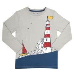 Kite Long Sleeved Tee Shirt Boys Lighthouse Grey 4 years