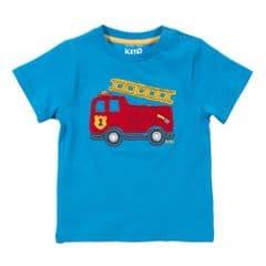 Kite Short Sleeve T-Shirt Baby Boy Fire Engine Blue