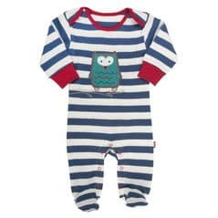 Kite Sleepsuit Baby Boy Owl Stripy Navy 0 to 3 Months