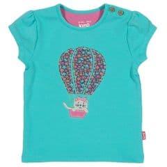 Kite T-shirt short sleeved Baby Girl Balloon Aqua