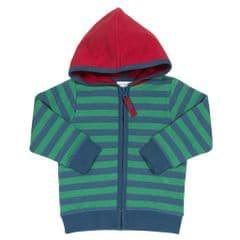 Kite Zip Through Hoody Baby Boy Stripy Green 12 to 18 Months