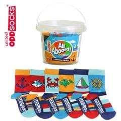 United Oddsocks All Aboard jar of 6 socks UK size 9 to 12