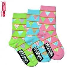 United Oddsocks Bunting pack of 3 odd socks for Girls (not pairs)