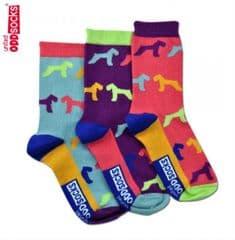 United Oddsocks Hound pack of 3 odd socks for Kids (not pairs)
