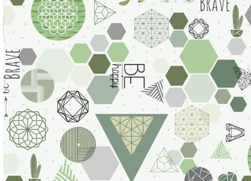 Modern Green Food Safe Wipe Clean Tablecloth