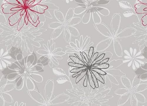 Red/Grey Flower Food Safe Wipe Clean Tablecloth