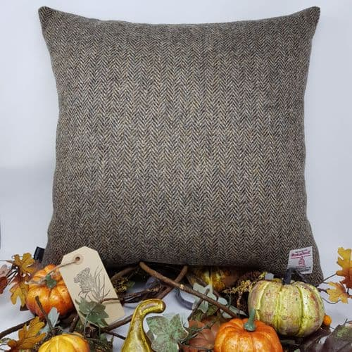 Autumn brown wool herringbone Harris Tweed cushion cover available in all sizes