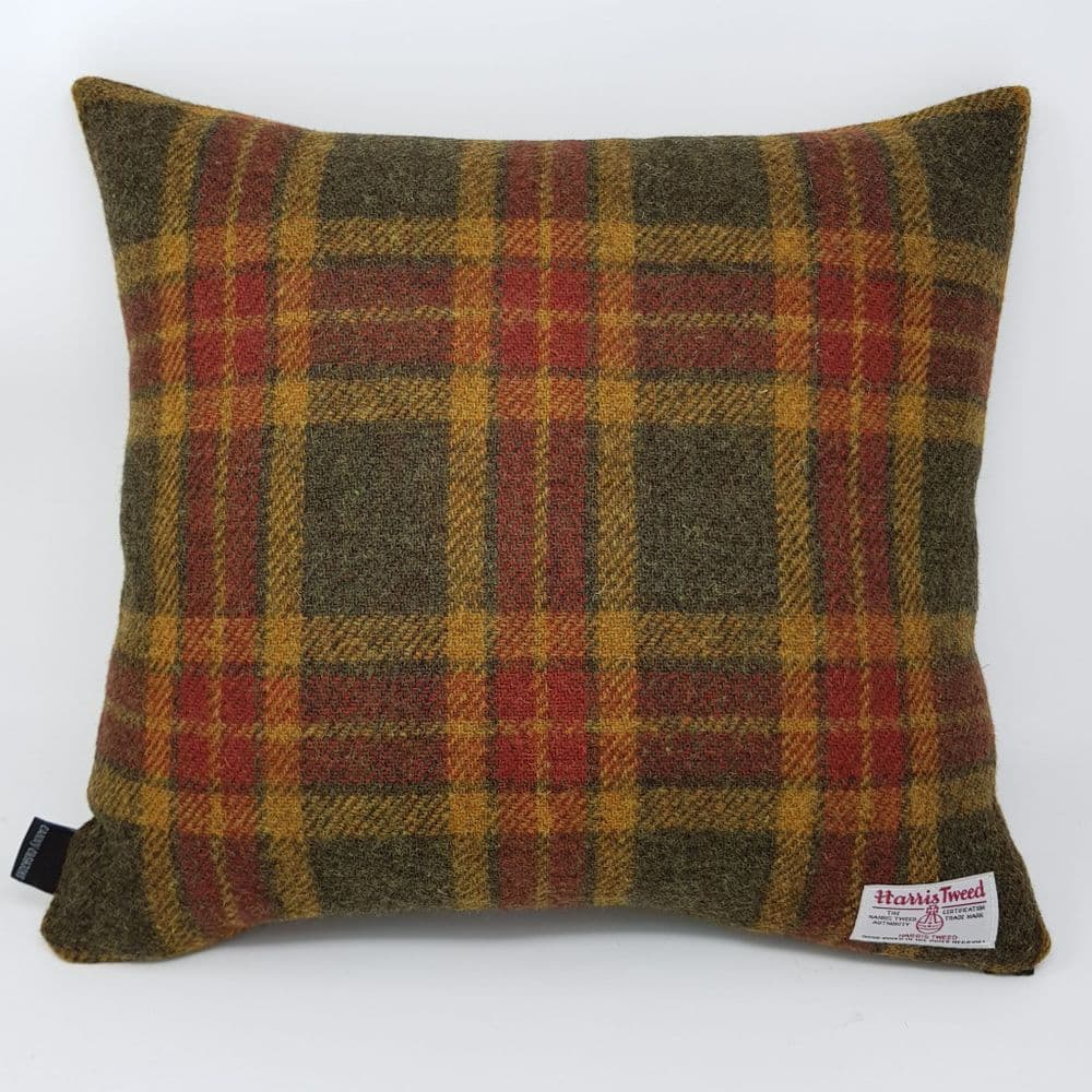 Autumn glen country genuine handmade Harris Tweed check cushion cover with rust brown and moss green