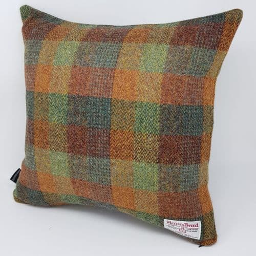 Autumn Patchwork Country Check Wool Tweed Cushion Cover made with Artisan Harris Tweed all sizes