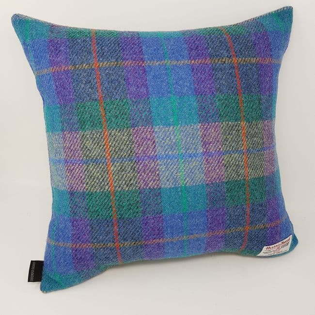 Blue Check Harris Tweed Cushion cover handmade artisan  100% Wool product all sizes available