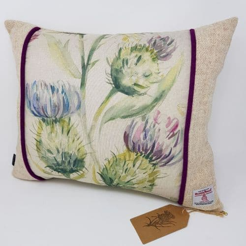 Cream Natural Thistle watercolour Harris Tweed Cushion Cover handmade gift or interior accessory
