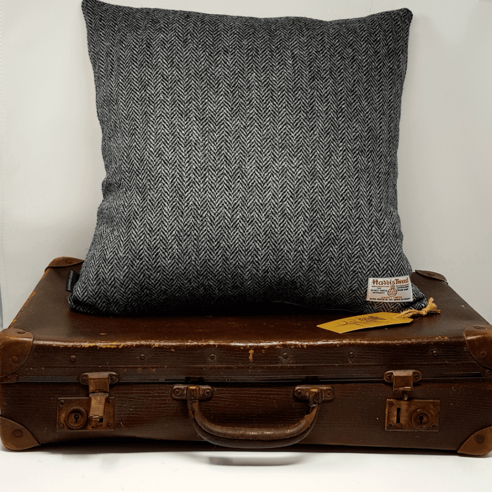 Grey Herringbone tweed charcoal grey with black genuine handmade Harris Tweed quality  cushion cover