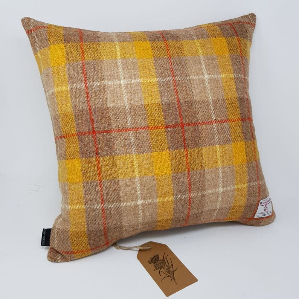 Modern yellow orange brown check Harris Tweed genuine handmade cushion cover