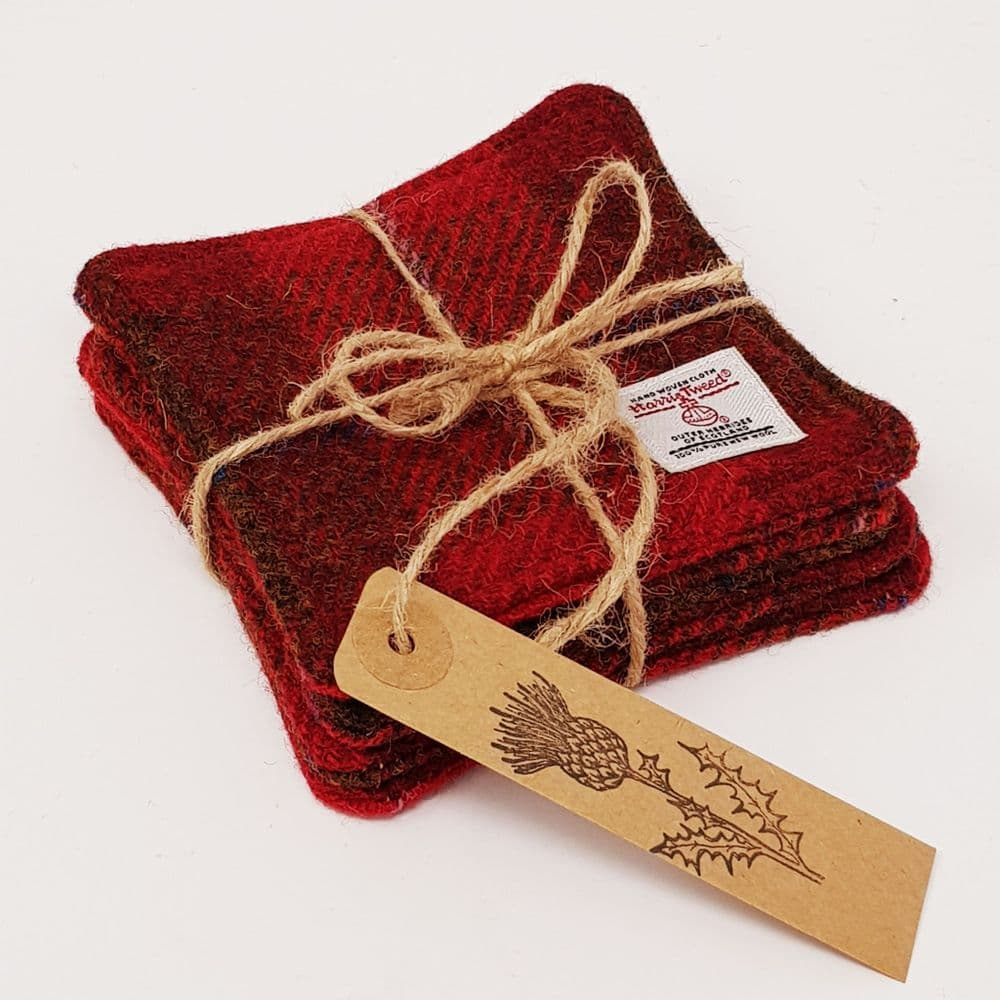 RED Harris Tweed drinks COASTER SET handmade ideal Gift