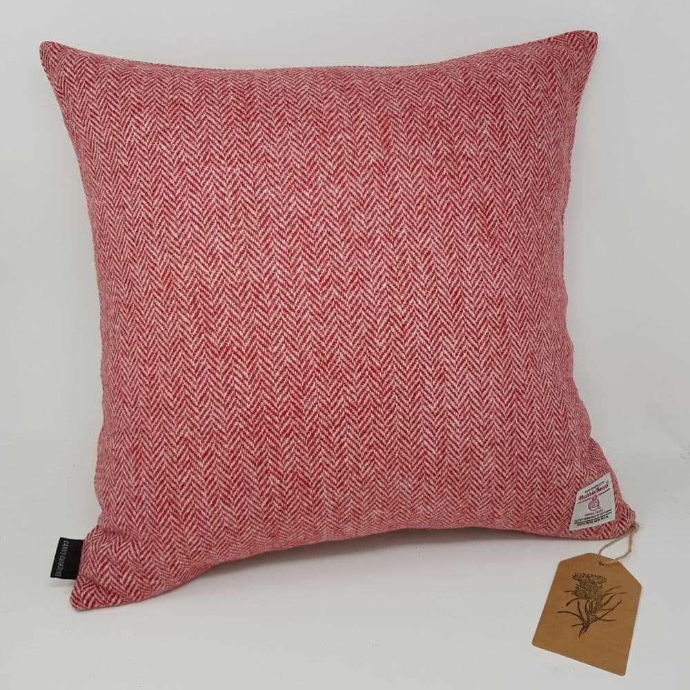 Red Herringbone Harris Tweed Cushion Cover handmade quality Artisan 100% Wool interior decor item