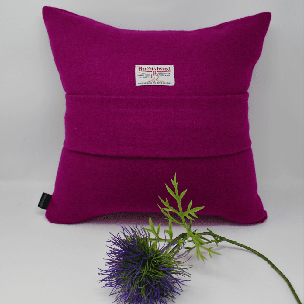 Unique individually designed Harris Tweed plain cushion cover with centre pleat and choice of colour