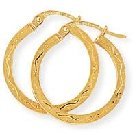 9ct Gold Engraved Hoops 21mm