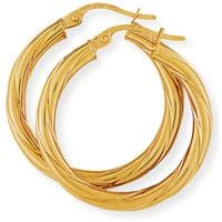 9ct Gold Twist Hoops 25mm