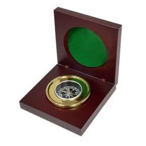 Brass Compass in Personalised Wood Box ref BC01
