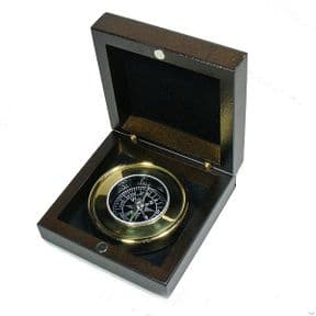 Brass Compass in Personalised Wooden Box ref BC02