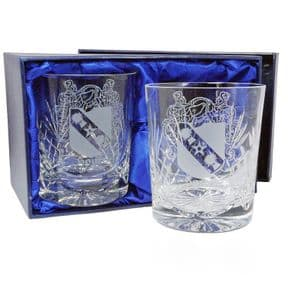 Coat of Arms / Family Crest Whisky Glasses pair, ref FCWP