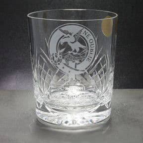 Crystal Whisky Glass Engraved with Scottish Clan Badge, ref CWSCB