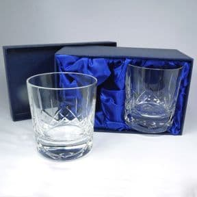 Crystal Whisky Glasses Pair, Personalised Engraved, ref WCWP