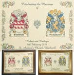 Family Crest A4 WEDDING or Anniversary Print PERSONALISED, ref FCWP1