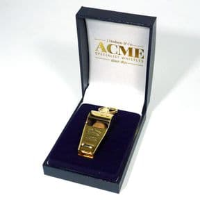 Gold Plated Acme Thunderer Referee's Whistle PERSONALISED ref RWYG