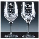Mr & Mrs Crystal Wine Glasses PERSONALISED ref MMWP