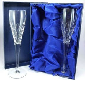 Personalised Crown Priory Crystal Champagne Flutes, ref CPCF