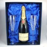 Personalised Crown Priory Crystal Flutes in Champagne Box, ref CPCB
