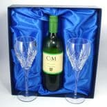 Personalised Crown Priory Crystal Wine Glasses/Goblets in Wine Box, ref CPGWB