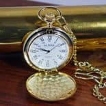 Personalised Pocket Watch, Gold finish Quartz, Engraved ref PWAG