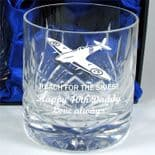 Spitfire Engraved Whisky Glass, PERSONALISED, ref SPWG