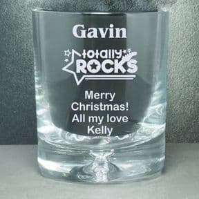 Whisky Glass,  Totally Rocks Personalised ref BWTR