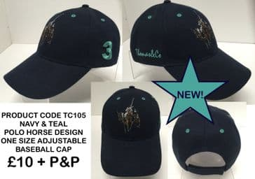 TC 105 BASEBALL CAP WITH POLO HORSE TEAL EMBROIDERY
