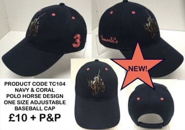 TC104 BASEBALL CAP WITH POLO HORSE CORAL EMBROIDERY