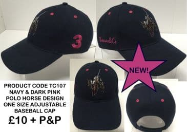 TC107 BASEBALL CAP WITH POLO DARK PINK HORSE EMBROIDERY