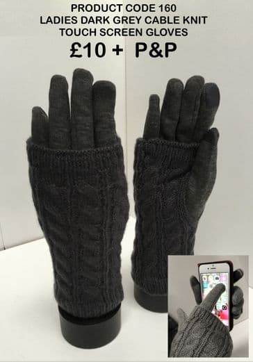 TC160 LADIES DARK GREY CABLE KNIT GLOVES