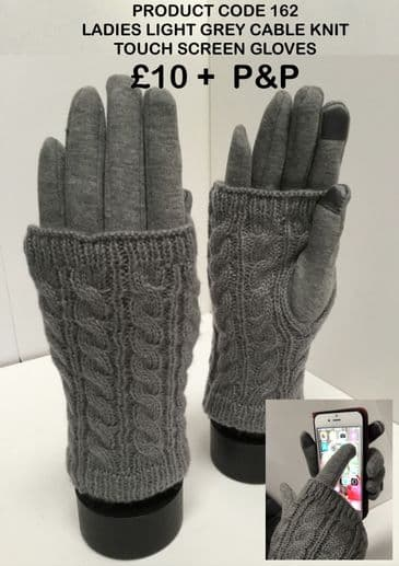 TC162 LADIES LIGHT GREY CABLE KNIT GLOVES
