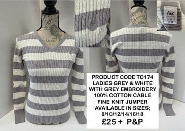 TC174 LADIES GREY & WHITE 100% COTTON CABLE KNIT JUMPER
