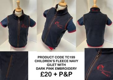 TC199 CHILDREN'S FLEECE NAVY GILET WITH RED EMBROIDERY