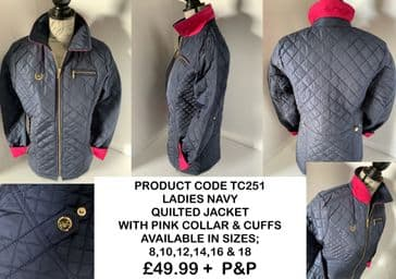 TC251 LADIES NAVY QUILTED JACKET WITH PINK COLLAR AND CUFFS