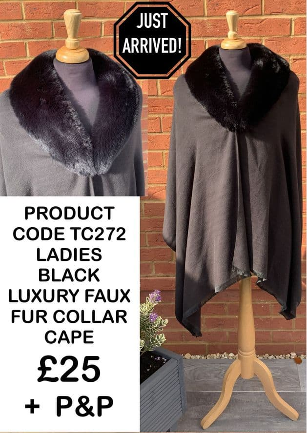 TC272 LADIES BLACK LUXURY FAUX FUR COLLAR CAPE