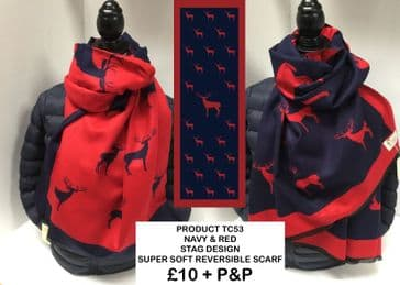 TC53 NAVY & RED STAG DESIGN REVERSIBLE SCARF