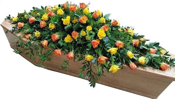 Bright Roses Coffin funeral Spray|Funeral Casket Flowers Essex