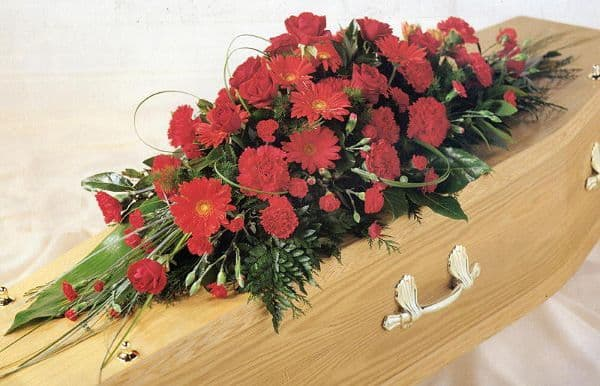Red Funeral Coffin Spray